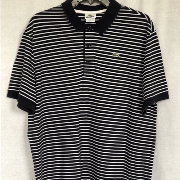 a3aaa3bbad41f Lacoste Other - Lacoste Black White Striped Polo Shirt Size 7 XXL